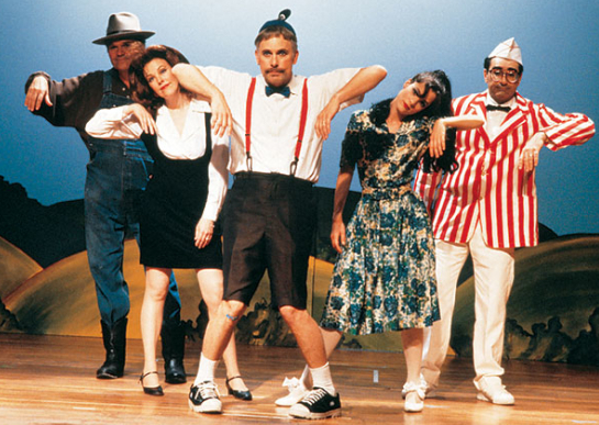 Fred Willard, Catherine O'Hara, Christopher Guest, Parker Posey, and Eugene Levy in the Red, White and Blaine section of Waiting for Guffman.