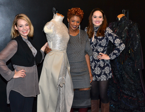Current Wicked stars Jenni Barber and Christine Dwyer pose with Project Runways: All Stars designer Sonjia Williams and the Wicked Challenge-winning dress.