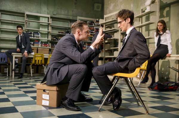 Will Pullen gives Noah Robbins a piece of his mind in Simon Stephens' Punk Rock, a production of MCC Theater directed by Trip Cullman at the Lucille Lortel Theatre.