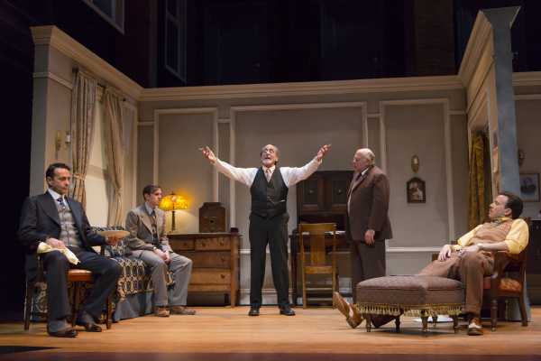 Stephen Schnetzer, Michael Goldsmith, Will LeBow, David Wohl, and Eric T. Miller in Clifford Odets' Awake and Sing!, directed by Melia Bensussen, at Boston's Huntington Theatre Company.