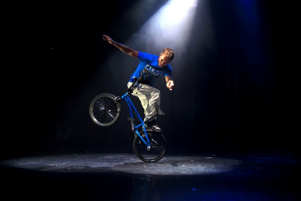 BMX Flatlanding World Champion Peter Sore in Onyx Productions' 360 Allstars, directed by Gene Peterson, at the New Victory Theater.