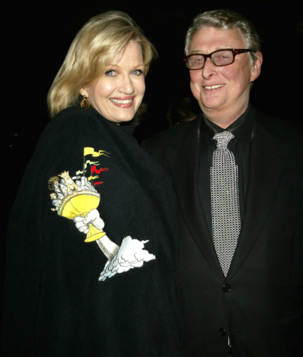 Diane Sawyer and MIke Nichols show off their Monty Python's Spamalot swag