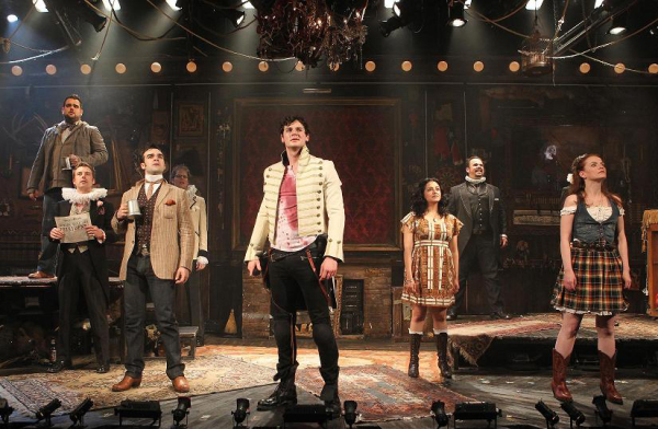 The cast of Michael Friedman's last presidential rock musical, Bloody Bloody Andrew Jackson, directed by Alex Timbers, at Broadway's Bernard Jacobs Theatre.