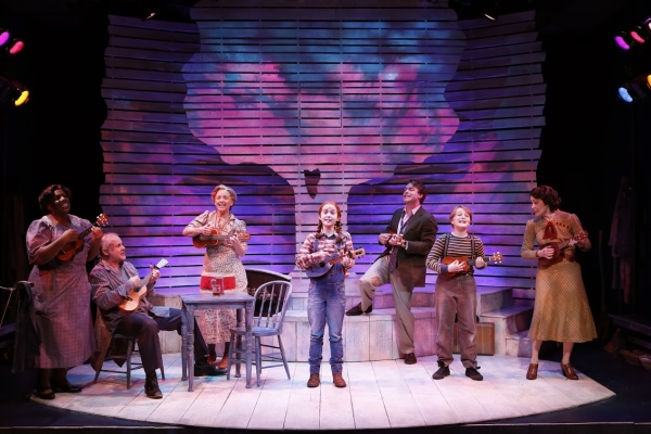 Virginia Ann Woodruff, Samuel Cohen, ALice Ripley, Taylor Richardson, Ashely Robinson, Silvano Spagnuolo, and Nancy Hess in A Christmas Memory, directed by Charlotte Moore, at the DR2 Theatre.