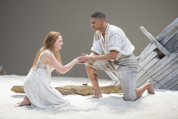 Rachel Mewbron as Miranda and Avery Glymph as Ferdinand in The Tempest, directed by Ethan McSweeny, at Washington, D.C.'s Shakespeare Theatre Company.