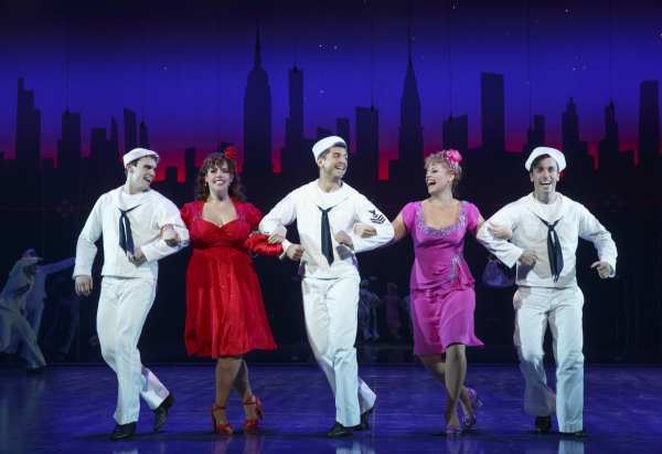 Jay Armstrong Johnson, Alysha Umphress, Tony Yazbeck, Elizabeth Stanley, and Clyde Alves star in On the Town at the Lyric Theatre.