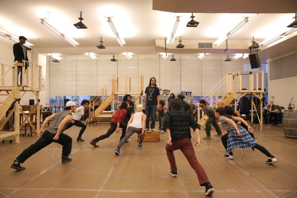 Lin-Manuel Miranda in rehearsal with the cast of Hamilton, his new musical set to play the Public Theater starting January 20.