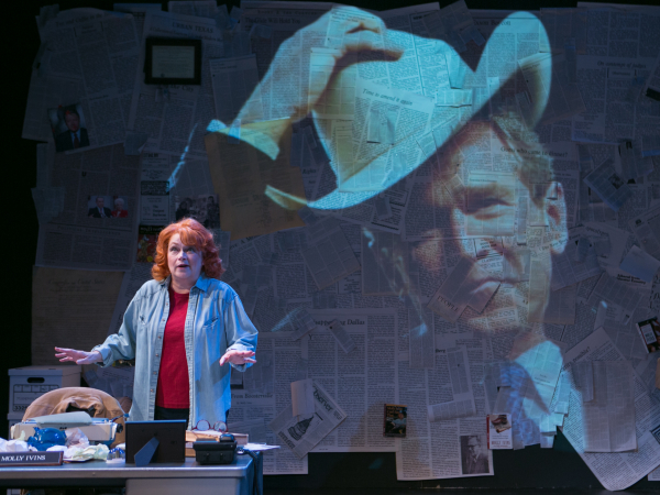 Karen MacDonald in Red Hot Patriot: The Kick-Ass Wit of Molly Ivins, directed by Courtney O'Connor, at Lyric Stage Company.