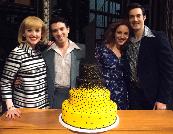 Beautiful stars Anika Larsen, Jarrod Spector, Jessie Mueller, and Scott J. Campbell surround the lovely first-anniversary cake.
