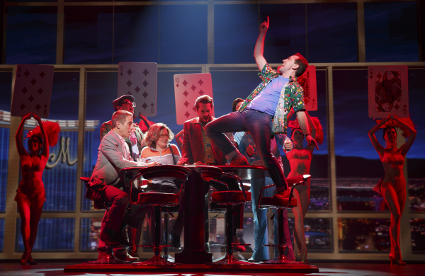 Tony Danza as Tommy Korman and Rob McClure as Jack Singer in Honeymoon in Vegas, directed by Gary Griffin, at Broadway's Nederlander Theatre.