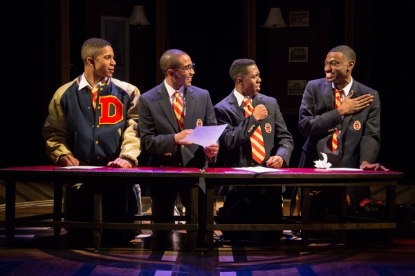 Jaysen Wright, Jonathan Burke, Eric Lockley, and Jelani Alladin in Terell Alvin McCraney's Choir Boy, directed by Kent Gash, at Studio Theatre.