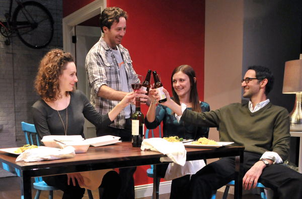 Marianna Bassham, Brian Hastert, Chelsea Diehl and Naer Nacer in Ken Urban's A Future Perfect, directed by M. Bevin O'Gara, at SpeakEasy Stage Company.
