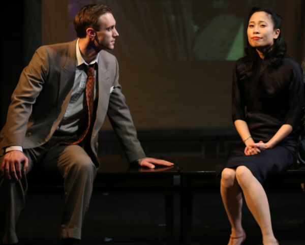 Benjamin Jones as Randolph and Rosanne Ma is Chinadoll in Damon Chua's Film Chinois, directed by Kaipo Schwab, at the Beckett Theatre at Theatre Row.