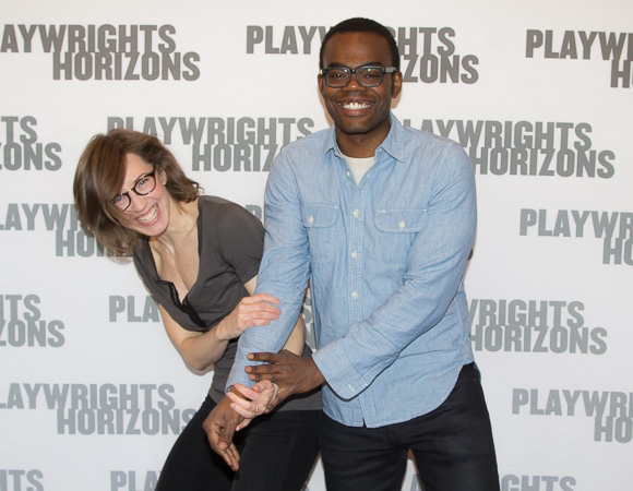 Carrie Coon and William Jackson Harper have some fun at rehearsal.