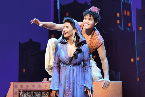Adam Jacobs as Aladdin and Courtney Reed as Princess Jasmine in the Broadway production of Aladdin.
