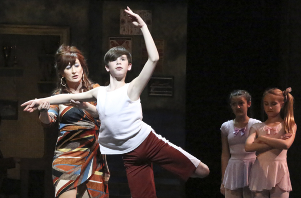 Vicki Lewis as Mrs. Wilkinson and Mitchell Tobin as Billy in La Mirada Theatre's production of Billy Elliot.