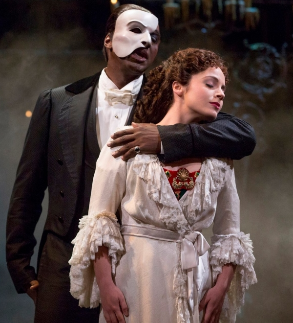 Norm Lewis and Mary Michael Patterson as The Phantom and Christine in The Phantom of the Opera, a show that has canceled its January 26 performance due to snowfall.
