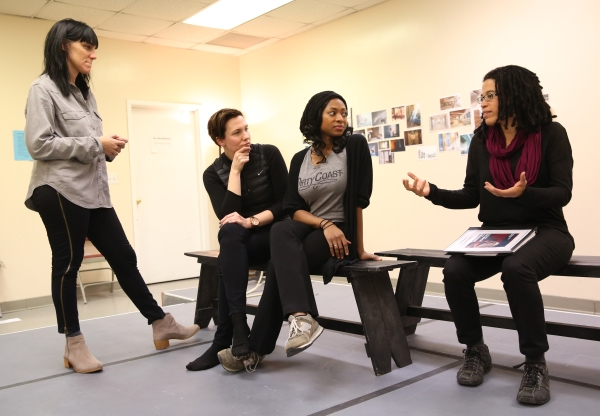 Leigh Silverman, Rebecca Henderson, Rachael Holmes, and Tanya Barfield in rehearsal for Bright Half Life.