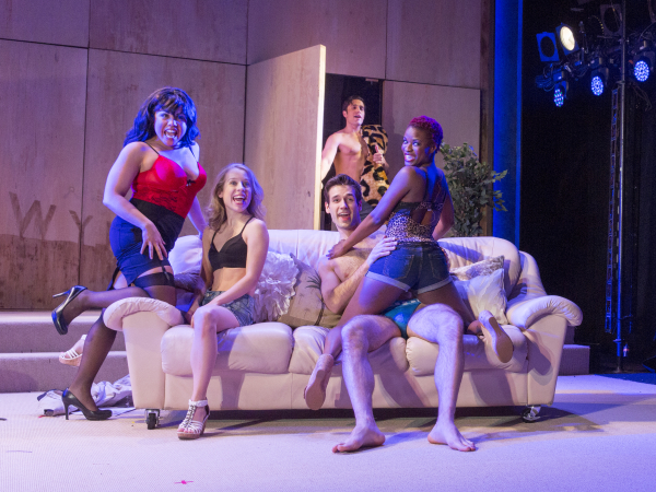 Maria-Christina Oliveras, Alyse Alan Louis, Jared Zirelli (background), John Behlmann, and Lulu Fall star in The Civilians' Pretty Filthy, directed by Steve Cosson, at Abrons Arts Center.