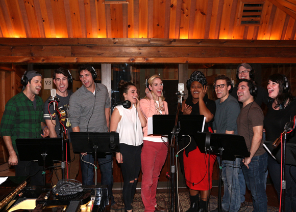 The cast of Side Show in the recording studio creating their cast album.