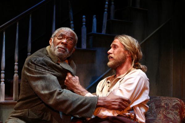 Charlie Robinson as Simon and Adam Haas Hunter as Caleb in Matthew Lopez's The Whipping Man, directed by Martin Benson, at Pasadena Playhouse.