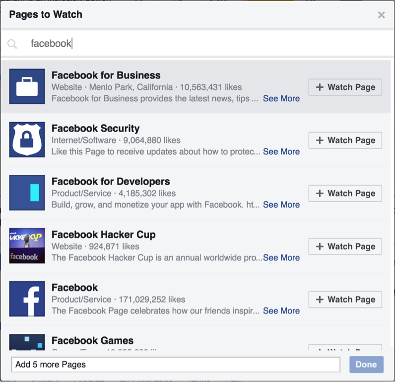 Using Facebook's Pages to Watch Feature