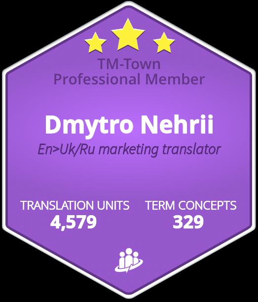 Dmytro Nehrii TM-Town Profile