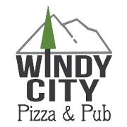 This is the restaurant logo for Windy City Pizza and Pub