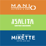 This is the restaurant logo for Mani Osteria & Bar