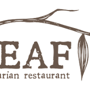 This is the restaurant logo for Leaf Vegetarian Restaurant