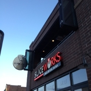 This is the restaurant logo for SliceWorks Colfax