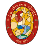 This is the restaurant logo for La Sirena Grill