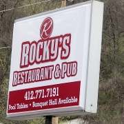 This is the restaurant logo for ROCKYS RESTAURANT & PUB