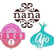 This is the restaurant logo for Nana, Ajo & Taco E