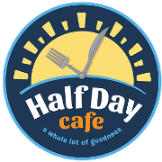 This is the restaurant logo for Half Day Cafe