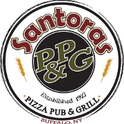This is the restaurant logo for Santora's Pizza Pub & Grill