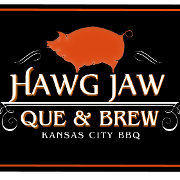 This is the restaurant logo for Hawg Jaw Que & Brew