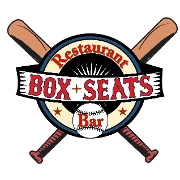 This is the restaurant logo for Box Seats Restaurant & Bar