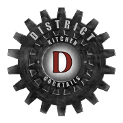This is the restaurant logo for District Kitchen + Cocktails