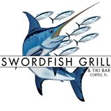 This is the restaurant logo for Swordfish Grill & Tiki Bar