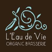 This is the restaurant logo for L'Eau de Vie Organic Brasserie