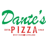 This is the restaurant logo for Dante's Pizza