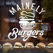 This is the restaurant logo for Mainely Burgers