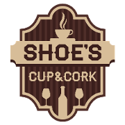 This is the restaurant logo for Shoe's Cup and Cork