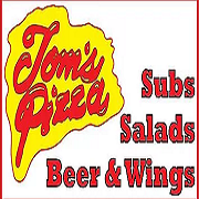 This is the restaurant logo for Tom's Pizza Shop