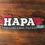 This is the restaurant logo for Hapa Hawaiian Grill