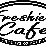 This is the restaurant logo for Freshie's Cafe