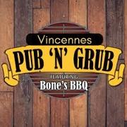 This is the restaurant logo for Vincennes Pub 'N' Grub