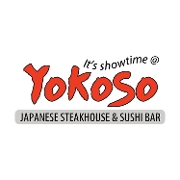 This is the restaurant logo for Yokoso Japanese Steakhouse & Sushi Bar