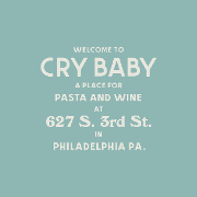 This is the restaurant logo for Cry Baby Pasta